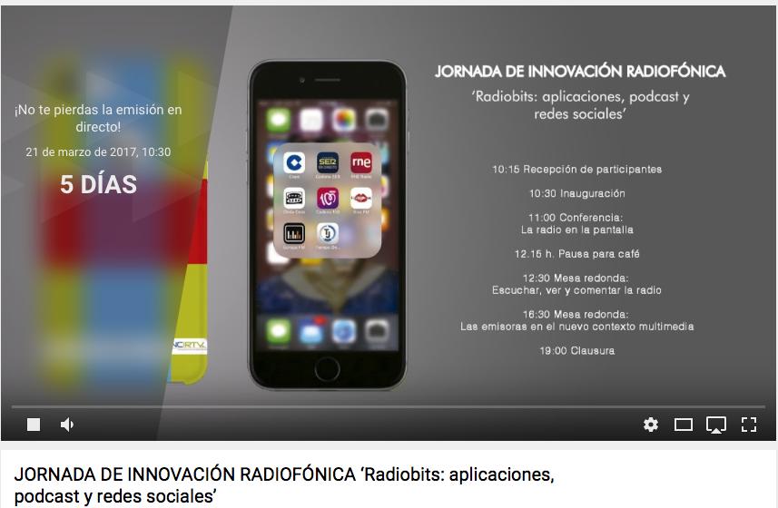 Sigue en directo la #1ªJornadaInnovaRadio en YouTube
